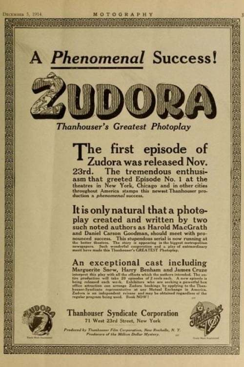 Постер фильма Zudora 1914